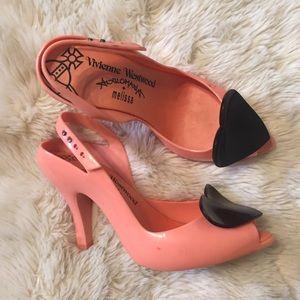 Melissa Vivienne Westwood pink jelly hear heels 9
